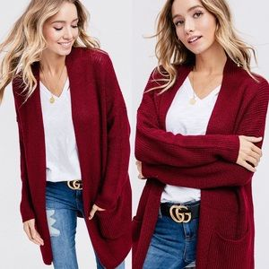 Sweaters - Wine Knitted Sweater Style Cardigan